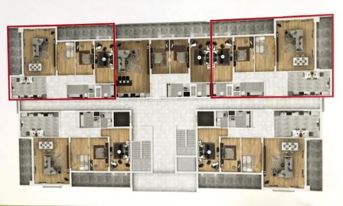Расположение квартир на этаже тип В